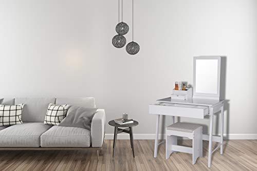 Woltu mb6042ws tavolo da trucco specchiera con sgabello tavolino
