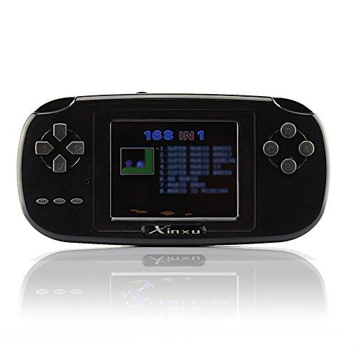 XinXu Consola de Juegos de Mano, Consola 2.8'LCD PVP PLUS Juego de Jugador Clásico Consola de Juegos de Mano 168 Juegos en 1 USB Carga Regalo para Niños (Negro)