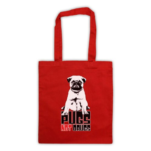Pugs Not Drugs Slogan Tote Bag Rosso
