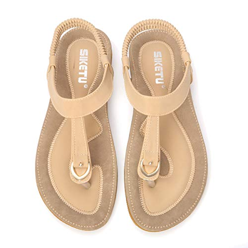 gracosy Damen Sandalen, Sommer Sandals Flach Zehentrenner Böhmischer Stil T-Strap Flats Offene Schuhe Strand Flip Flops Beige 41