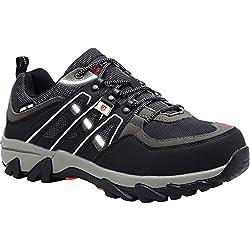 Zapatos de Seguridad con Punta de Acero para Hombres, Zapatos industriales y de construcción Reflectantes antialadros, LM-105 (41.5 EU, Negro)