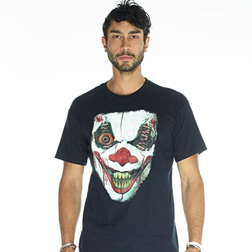 Digital Dudz DDTEDCM - Bewegen Augen Dämon-Clown Erwachsenen T-Shirt, Medium (Rocket Scientist Kostüm)