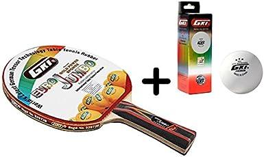 GKI Euro Jumbo Table Tennis Combo Set (GKI Euro Jumbo Table Tennis Racquet + GKI Premium 3 Star 40 Table Tennis Ball, Box of 3 - White)