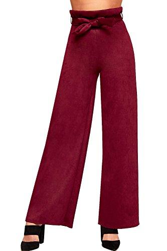 WEARALL - Femmes Élevé Taille Suède Belted Large Jambe Palazzo Pantalon Dames Sac En Papier Pantalon - 34-42 Vin