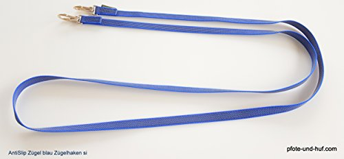elropet Gummierte Zügel m. Zügelhaken Silber Gummizügel blau (2,20m Shetty)