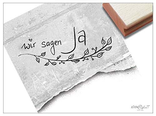 Stempel Hochzeitsstempel WIR Sagen JA in Handschrift, mit Ranke - Textstempel zur Hochzeit, für Einladungen Heiratsanzeige Tischdeko - zAcheR-fineT