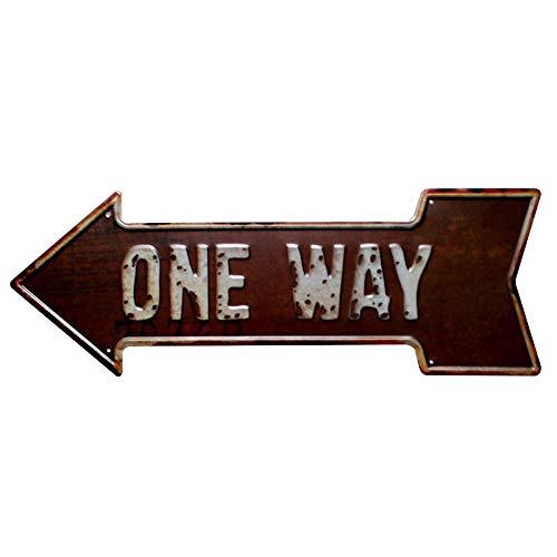Lumanuby 1x Schäbig Pfeil Metall Zeichen für Bar Club Pub Café oder Restaurant 'One Way' Wandschild Deko Prägen Stil, Bar Sprüche Serie - Metall Pfeil-zeichen
