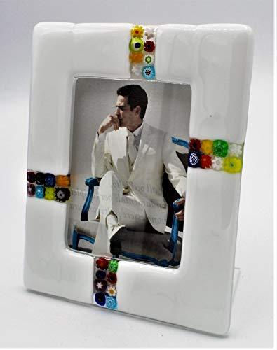 Portafoto in vetro di murano e murrine millefiori cm 12x15 made in italy