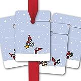 8 lustige Weihnachts Geschenkanhänger, Geschenkkärtchen, Papieranhänger, Hänge Etiketten zu Weihnachten mit fröhlichen Wichteln für tolle Geschenke zum beschriften | für.