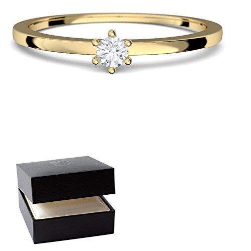 Goldring Damen 585 Verlobungsringe Gold Diamant 0,05 Carat H/si **sehr gute Qualität** +inkl. Luxusetui+ Diamantring solitär schmal dünn Goldring Diamant Ring Gold Diamantring Gelbgold FF50GG585BRFA55