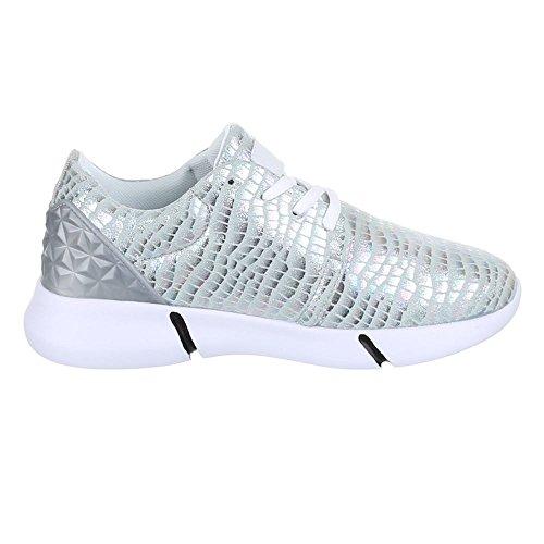 Trendige Damen Laufschuhe Schnür Sneaker Sport Fitness Turnschuhe Silber