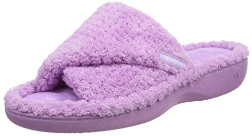 Ladies Terry Ballerina Slippers, Bas Femme - Violet (Lilas), 38/39 EU (L)Isotoner