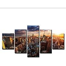 Impresiones en HD Modular Wall Art Framework 5 Unidades Cuadros de Lienzo Ciudad de Nueva York