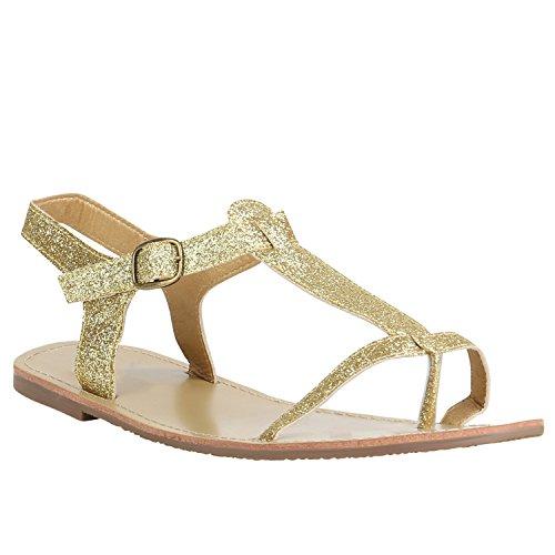 Damen Sandalen Strass Metallic Zehentrenner Flats Dianetten Schuhe 155773 Gold Glitzer 40 Flandell