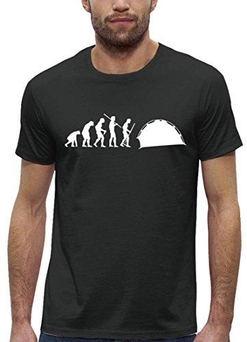 Campen Premium Herren T-Shirt aus Bio Baumwolle EVOLUTION ZELTEN Marke Stanley Stella Anthrazite
