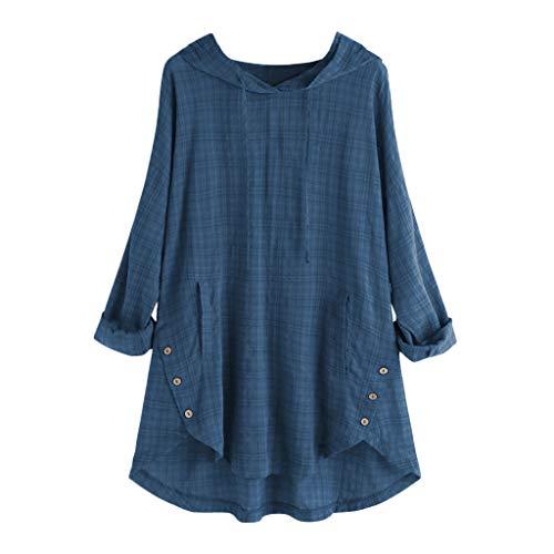 QIMANZI Übergröße Damen Lange Ärmel Kaftan Ausgebeult Taste Bettwäsche aus BaumwolleTunika Bluse(A Blau,5XL)