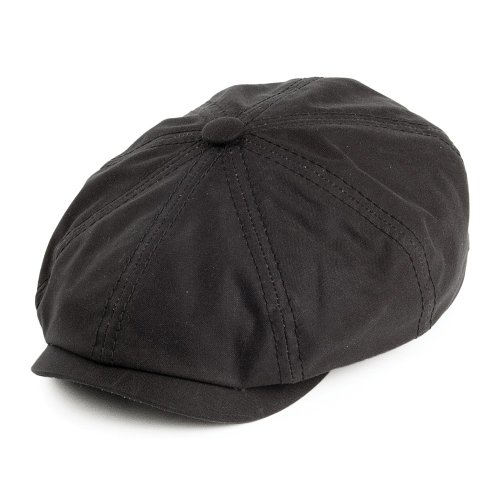 Village Hats Casquette Gavroche en Coton Ciré Hatteras noir STETSON