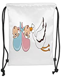 GONIESA Drawstring Sack Backpacks Bags,Gender Reveal,Babies with Stork Mythical Congratulation Playroom Baby Shower Kids…