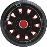 #8: Oshotto Premium OSHO-WC53RB 12-inch Red and Black Double Paint Finish Universal Fitting-Push Type Car Wheel Cover (Set of 4)