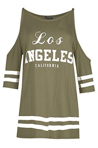 Damen Los Angeles California Aufdruck Kalt Ausgeschnittene Schulter -