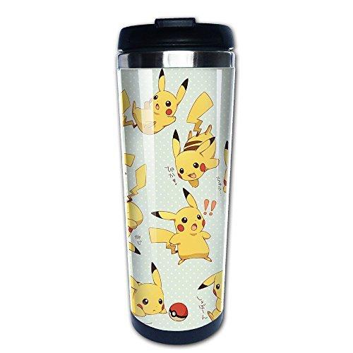 primeee Pokemon Pikachu Logo Edelstahl Tasse/Kaffee Thermos/Thermoskanne,