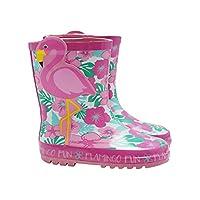 M&Co Kids Girls Pink Flamingo Tropical Floral Print Wellington Boots