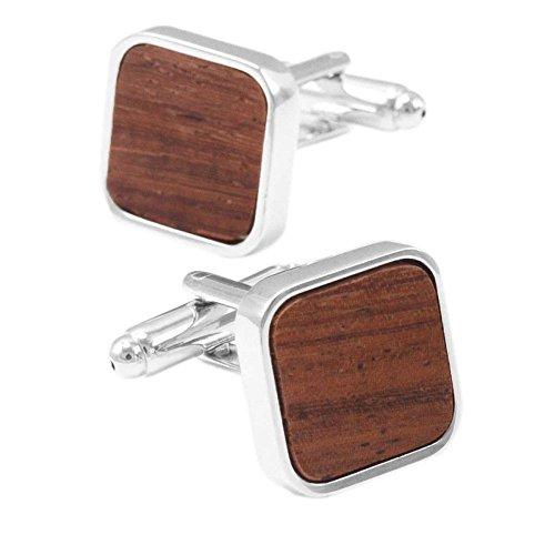 Quadratische Holz Manschettenknöpfe Gehobenen Männer Französisch Business,Brown-M -