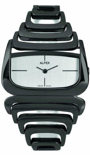 Alfex - 5669_783 - Montre Femme - Quartz Analogique - Cadran Gris - Bracelet Acier plaqué Noir