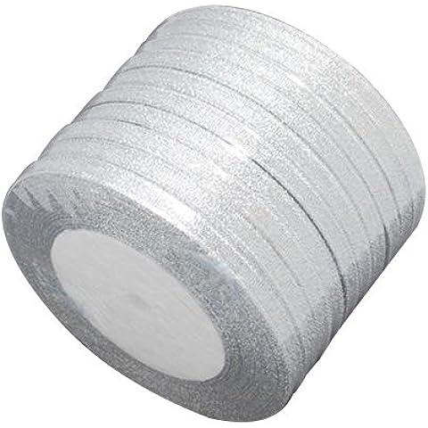 Pandahall,cinta de la chispa, material de bricolaje para organza arco, doble cara, color de plata, tama?o: cerca de 6 mm de ancho, 25 yardas / rodillo
