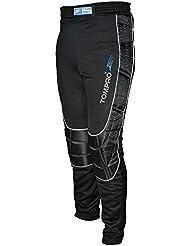 tompro Sprint Football toute la longueur Pantalon de gardien de but de football gardien GK Pantalon intérieur brossé rembourré en mousse anatomique Protéger de tissu spécial résistant aux abrasifs pour adulte Noir Taille S