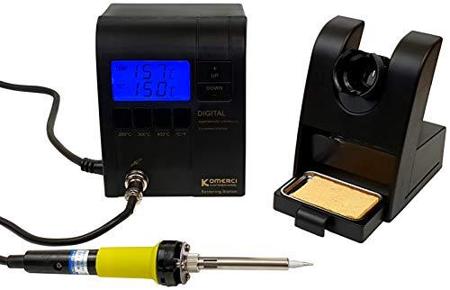 Komerci ZD-937ESD Regelbare digitale Lötstation mit 24V Niedervolt Lötkolben, extra langes Kabel, schwarz