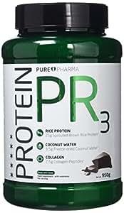 PurePharma PR3 Organic Cocoa Rice Protein with Coconut Water & Collagen. 100% Gluten & Dairy Free. 950g