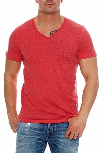 Happy Clothing Herren T-Shirt V-Ausschnitt Meliert Comfort Bügelfrei , Farbe:Rot, Größe:XXL