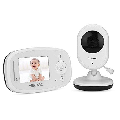 Babyphone Babymonitor 2,4 LCD Display Infrarot-Nachtsichtkamera Eco-Modus mit Gegensprechfunktion und Temperatur von Yissvic (Weiß-infrarot-bereich)