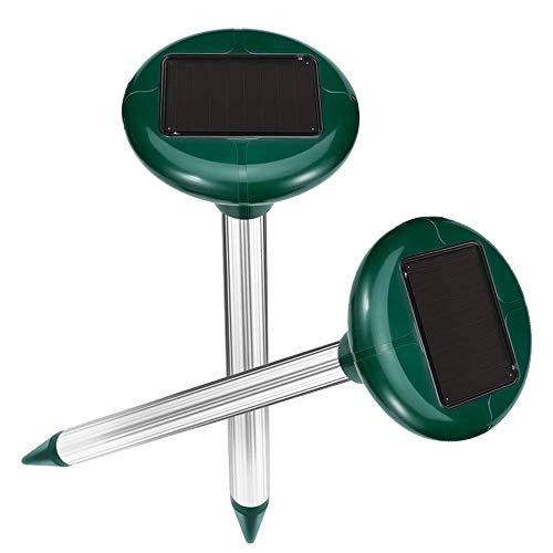 Vivibel 2 Stück Solar Maulwurfabwehr,Ultrasonic Solar Maulwurfschreck,Mole Repellent, Maulwurfbekämpfung, Schädlingsbekämpfung mit IP56 für Den Garten (Grasgrün)