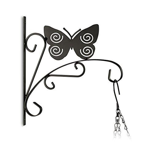 Relaxdays Crochet mural pour plantes papillon suspensions pot de fleurs en métal décoration de jardin HxlxP 30 x 28 x 2 cm, noir