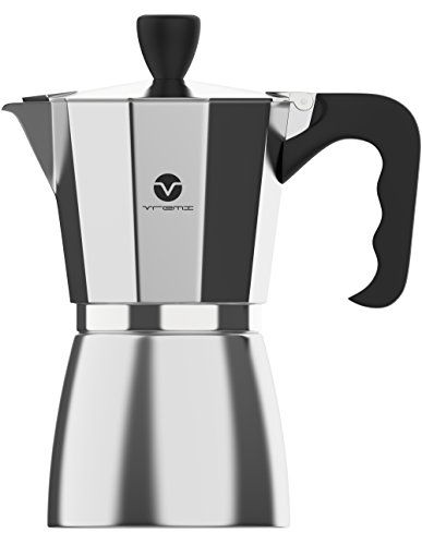 Vremi Stovetop Espresso Maker – Moka Pot Coffee Maker for Gas Electric and Portable Induction Stove Top – 6 Cups Demitasse Espresso Shot Maker for Express Italian Espresso Cappuccino or Latte – Black (Silver) 41TQWNUG2VL