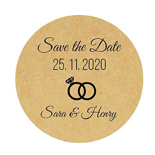 48 Stück personalisiert 'Save the Date' Aufkleber Rings Hochzeitssticker - 4 cm Runde selbstklebende für die Hochzeit,Engagement,Gastgeschenk,Tischdeko,Flaschen,Tüten, Briefen, Einladungen - Rd 009 (Personalisieren Die Sie Einladungen)