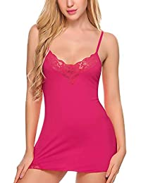 Bomshel Xs and Os Women Full Slip Babydoll Nightwear Lingerie with Panty