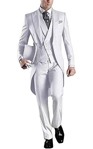Herren Premium Frack 3 Stück Herrenanzug Hochzeitsanzüge Jacke Blazer Weste Hose Smoking - Peak Revers Weste