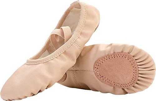 JIASUQI Frauen Leder Ballett Tanzschuhe Mädchen Pointe Schuhe Hausschuhe Wohnungen Yoga Schuh Beige, 39 ()