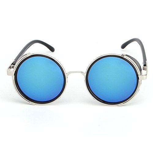 DING-GLASSES Sonnenbrille Frauen Männer Sonnenbrillen Retro Runde Steampunk Unisex Sonnenbrille Vintage Gothic Sonnenbrille Goggle Oculos De Sol Feminino (Color : Blue)