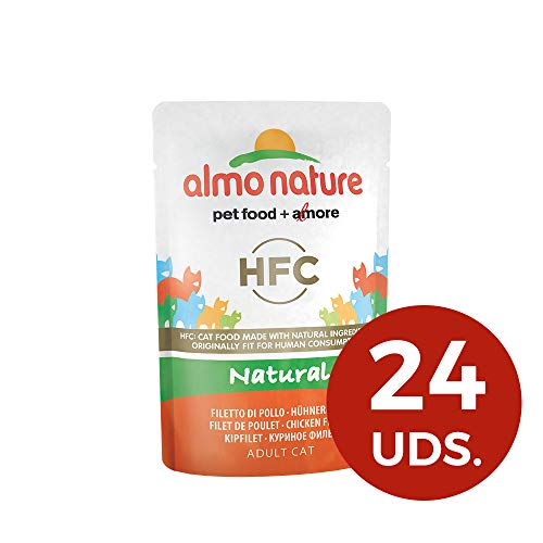 almo nature HFC Naturel de Wet pour Chat - Poulet Filet (Lot de 24 x 55 g sachets)