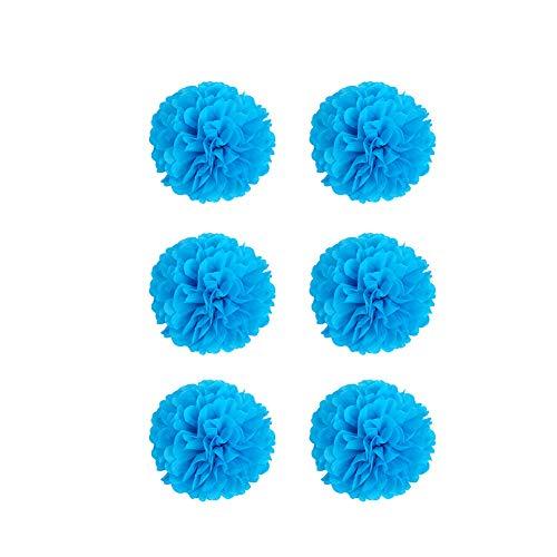 YaptheS DIY dekoratives Seidenpapier Blumen-Kugel-Papierlaternen Perfekt für Party Hochzeit Startseite Außendekoration dunkelblau 6 Inch 6pcs