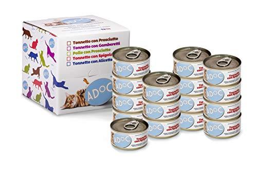 ADOC Cibo Umido per Gatti con Ingredienti Naturali al 100% con Tonno e Spigola - Pacco da 16 x 85 g