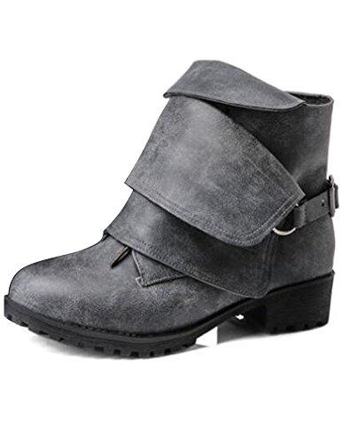 ShallGood Damen Winter Elegant Stiefel Freizeitschuhe Weich Leder Combat Chelsea Wasserdicht Flache Schuhe Ankle Boots Schwarz EU 44 (Freizeitschuhe Polo)
