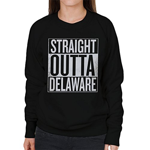 White Text Straight Outta Delaware US States Women's Sweatshirt (Klassischen Sweatshirt Delaware)
