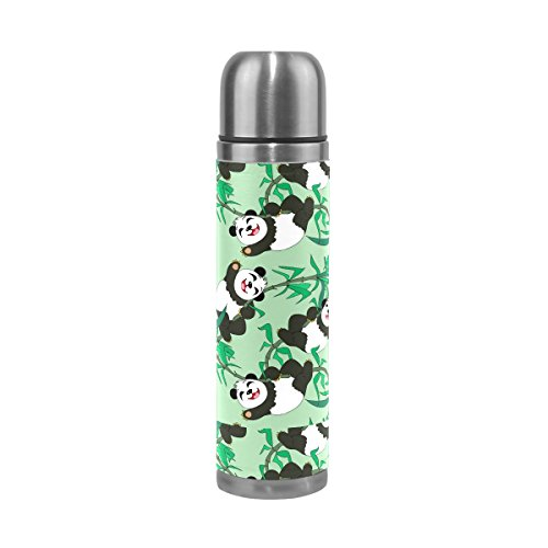 Isaoa 500 ml Boisson Bouteille d'eau en acier inoxydable Bouteille isotherme Thermos anti-fuites double Happy pandas Vert Paroi Flasque pour l'intérieur Sports de plein air randonnée Course