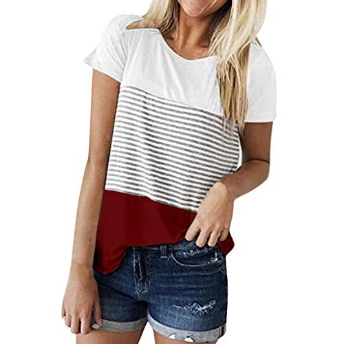 e Damen Mode Lose Kurzarm Triple Color Block Streifen T-Shirt Casual Bluse(S,Weinrot) ()