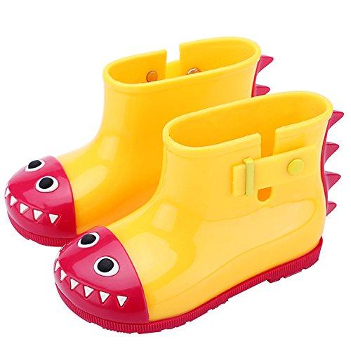 Mädchen Jungen Gummistiefel Kinder Kurzschaft Regenstiefel Kuschelige Cartoon Kinderstiefel Baby Wasserdicht Stiefel Rain Boots, Gelb Krokodil - Kleinkind-gelb Regen Stiefel